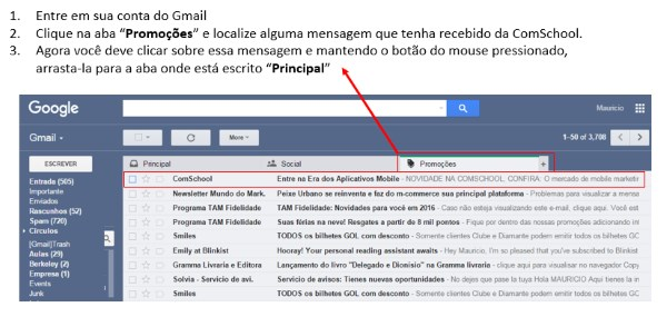 Como inserir a ComSchool no Whitelist do Gmail